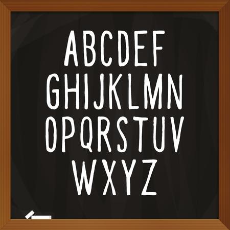 basic letters: alphabet. Letters of the alphabet . Decorative uppercase letters written on school blackboard.