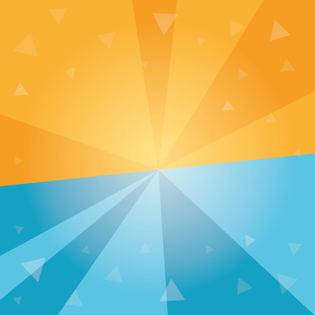 halved: Abstract geometrical background. Halved sun burst background. Dynamic centered template with tiny transparent triangles. graphic.