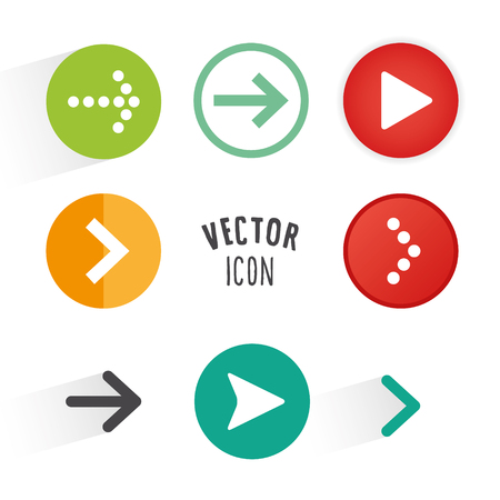 Arrow button collection. Simple circle shape button with arrow icons.