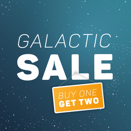 wholesale: Galactic sale! Conceptual illustration - super large wholesale. White large typography placed on blue starry sky. Illustration