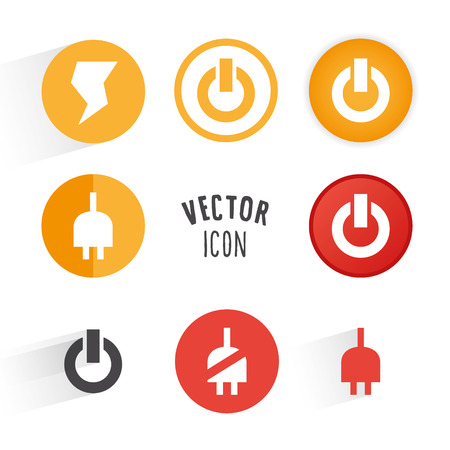 Power themed icon set. Simple circle shape button with white minimalistic icon. graphic elements. Illustration