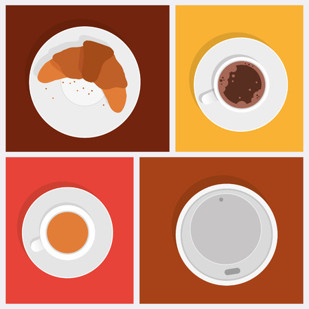 afters: Breakfast objects. Coffee, tea and croissant. Isolated objects on one-color background Illustration