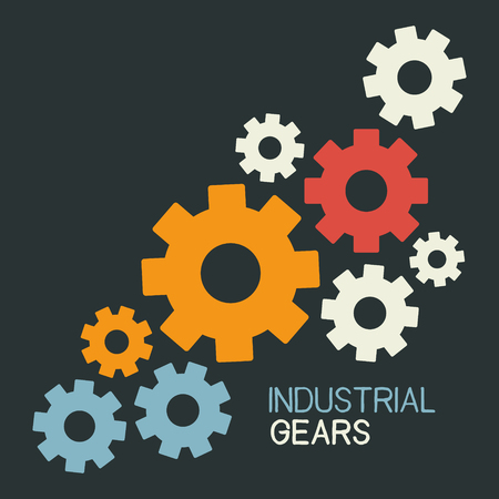 Industrial gears on dark background. Colorfull vector illustration with place for your text.