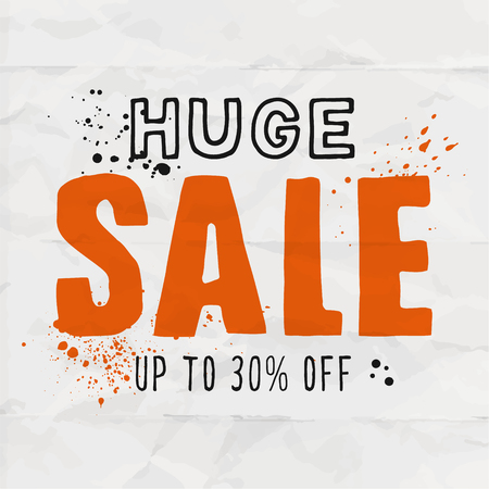 Huge sale template for your shop. Completely handmade letters on paper background.