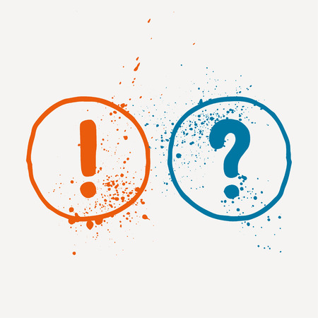 Watercolor question mark and exclamation mark. Vector graphics. Illustration