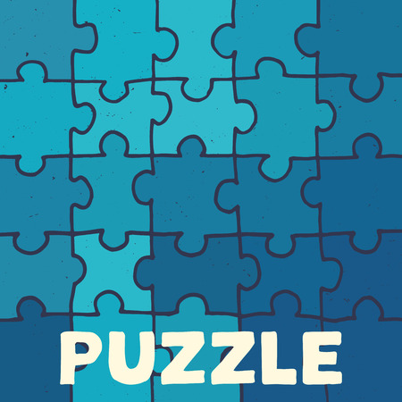 illustrated: Handmade vector puzzle background. Jisaw pieces illustrated by hand.