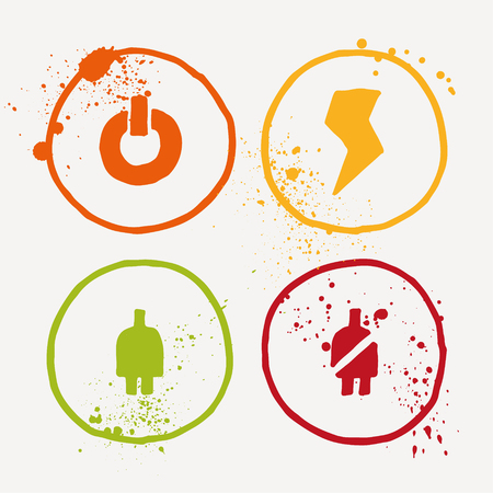 aquarelle: Aquarelle symbols with splashes and splatters all around. Pack of four. Vector graphics - power and electricity. Illustration