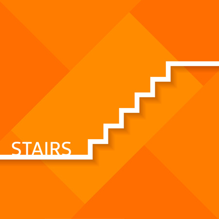 metaphoric: Outline metaphoric stairs on orange background.