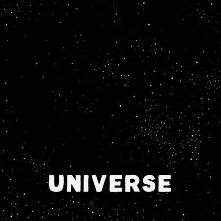 tons: Minimalistic vector universe. Dark night sky with tons of stars and planets.