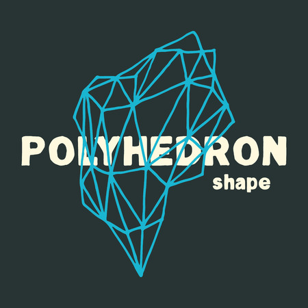 Handmade vector polyhedron. Hand illustrated abstract outline shape. Handmade polygon.