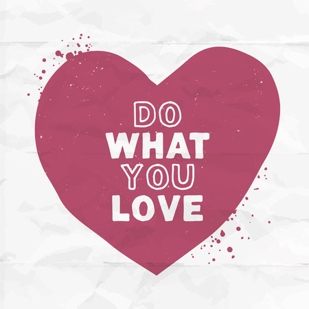 Do what you love purple handcrafted heart. Vector illustration with inspirative quote.