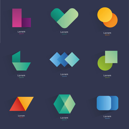 devised: Collection of abstract blank symbols. Simple geometric shapes. Vector graphic elements. Illustration