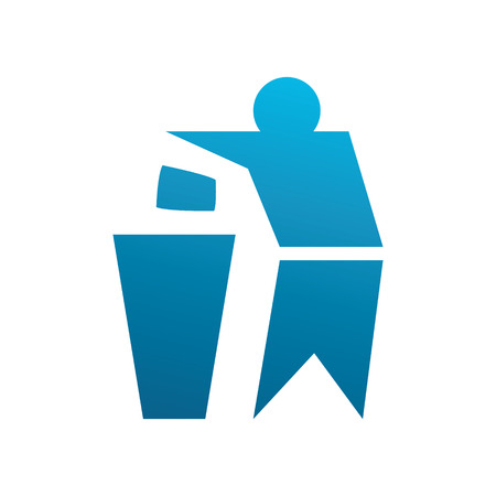 Man throwing away his trash. Simple vector illustration for packages. Illustration