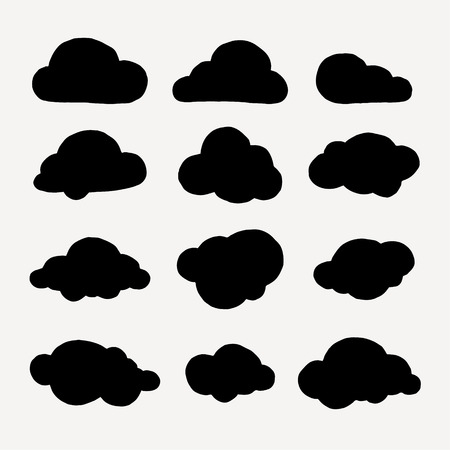 Collection of cloud symbols. Hand made vector graphics.
