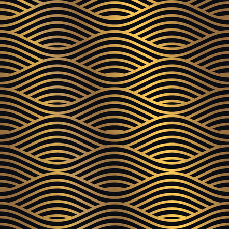 Gouden naadloze patroon op een donkere achtergrond. Minimaal ontwerppatroon gecombineerd met flitsend gouden verloop. Vector grafisch ontwerpelement. Vector Illustratie