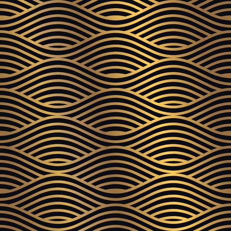 Modello senza cuciture dorato su sfondo scuro. Modello di design minimale combinato con sfumature dorate appariscenti. Elemento di disegno grafico vettoriale. Vettoriali