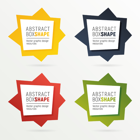 Set of square polygon banners of bright colors. Ready to use option infographics. Flashy frame for your message. Illustration