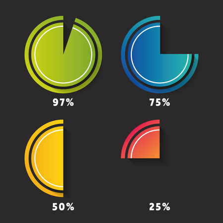 Set of circle diagrams - pie graphs - for infographics. Modern design diagrams for your statistics. Arrives in four different color variations.