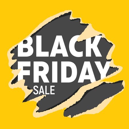 Black friday universal banner. White letters on black background teared into bright yellow wrapping paper.