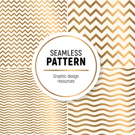 Luxurious seamless pattern colelction. Simple, but flashy background. Include zig zag and wave textures. Illustration
