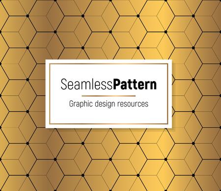 Golden seamless pattern on a dark background. Minimal design pattern combined with flashy golden gradient. Vector graphic design element.  イラスト・ベクター素材