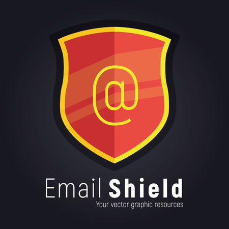 Illustrated shield banner. Icon, symbol for amrs banner - communicate protection, safety and reliability. Perfect for certificate or antivirus.