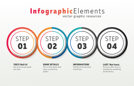 Colorful infographics number options template. Perfect for your website as a shopping or timeline steps. Four steps in flashy gradient colors.