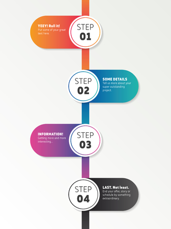 Infographics number timeline template. Made in glossy colors. Çizim