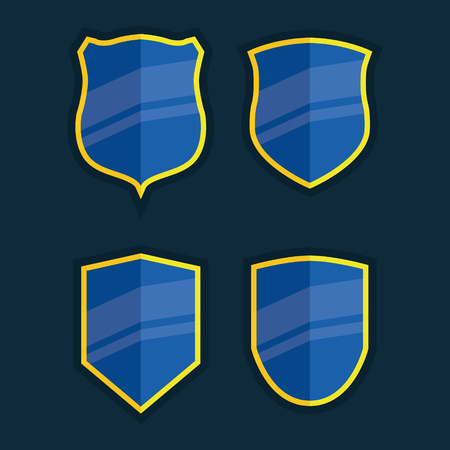 Illustrated shield banners. Icon, symbol for amrs banner - communicate protection, safety and else. Perfect for certificate or antivirus.