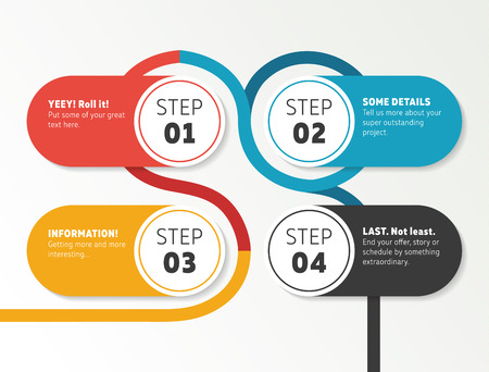 Infographics number timeline template. Wide panel design with four steps and colorful line around. Flashy colors. Çizim