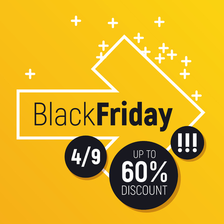 Flashy yellow square sale banner. White arrow motif with lot of space around. Perfect for seasonal discounts, balck friday sales and else. Illusztráció