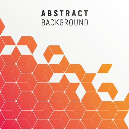 Polygonal abstract background in flashy gradient color. Floating particles of diamond shape - futuristic feel. Illustration