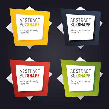 Set of square polygon banners of bright colors. Ready to use option infographics. Flashy frame for your message. Çizim