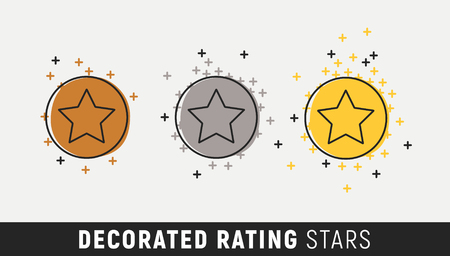 Rating star sign. Three shining stars for quality - placing rating.