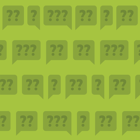 Seamless bubbles filled with question marks on green background.