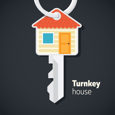 Turnkey house illustration. Vector graphic show smart house inside of a key. Perfect for estate based business or graphics.