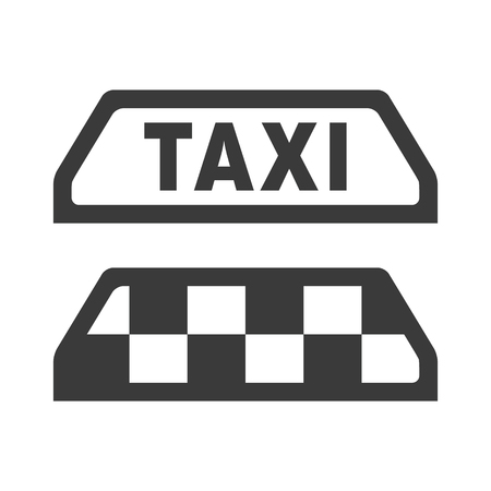 Simple vector icon for taxi. Grayscale pictogram suits well to any kind of surfaces or backgrounds. Illustration