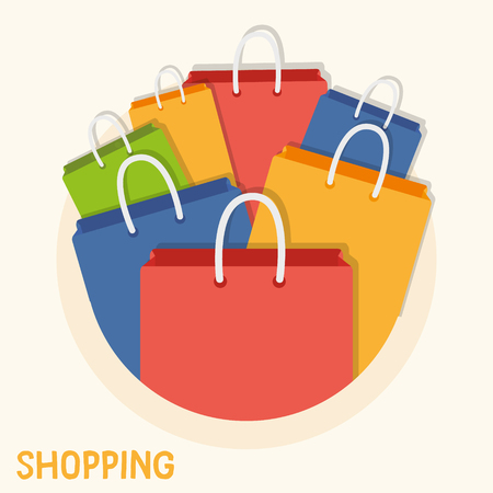 Circular shopping bag illustration. Colorful shopping bags for posters, flyers, website or anywhere business related image needed. Vector graphic design elements.