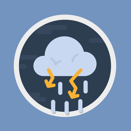 Stormy with lighting, circular weather forecast icon in flat design style. Vector graphic element.