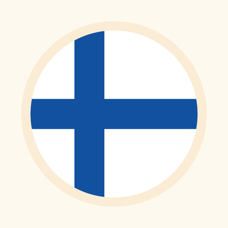 Vector illustrated flag of Finland. Circular flat design graphic element. Great for national themed occasions like languages, sport events, travelling and more.