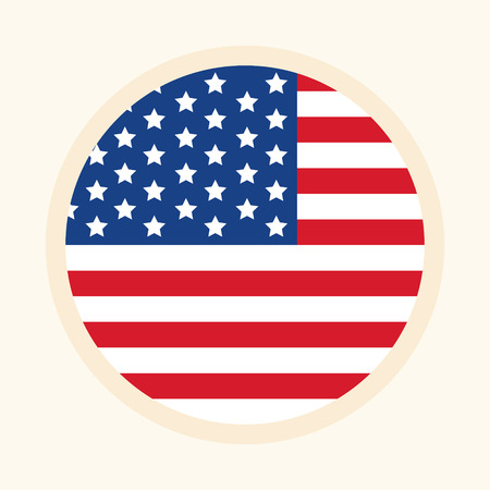Circular American flag illustration. Symbol for USA flag in flag and rounded style. Graphic design element.