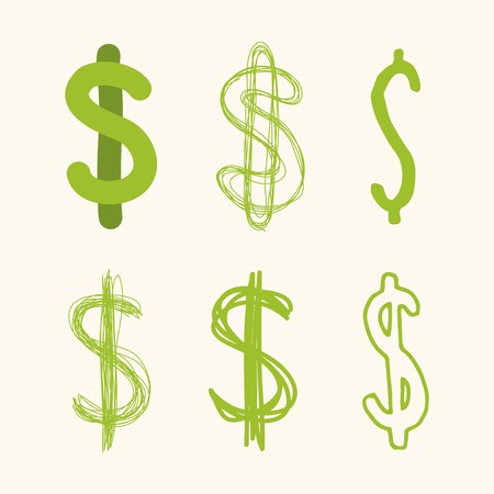 Collection of handmade dollar signs. Symbols representing currency or graphic elements for your illustrations.