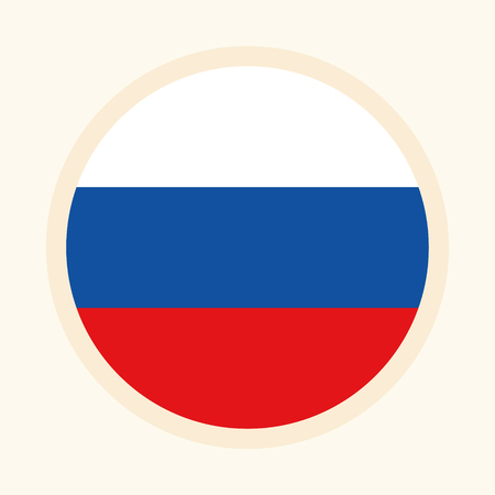 Vector illustrated flag of Russia. Circular flat design graphic element. Great for national themed occasions like languages, sport events, travelling and more.