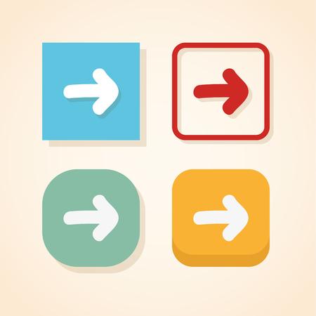 Set of four minimalistic square website buttons. Modern webdesign elements. Illusztráció