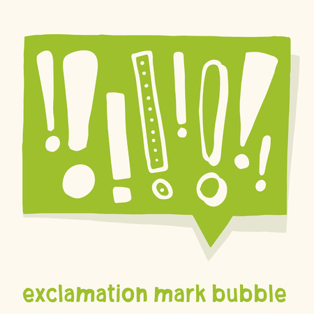 Comic bubble with various exclamation marks in it. Vector handmade graphic design. For warning, informations or announcements. Stock Illustratie