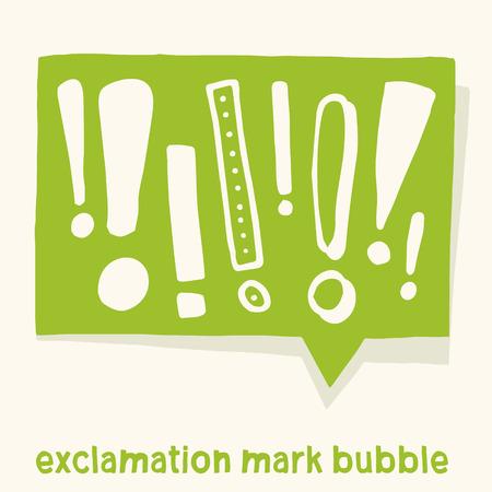 Burbuja cómica con varios signos de exclamación. Diseño gráfico hecho a mano del vector. Para advertencias, informaciones o anuncios.