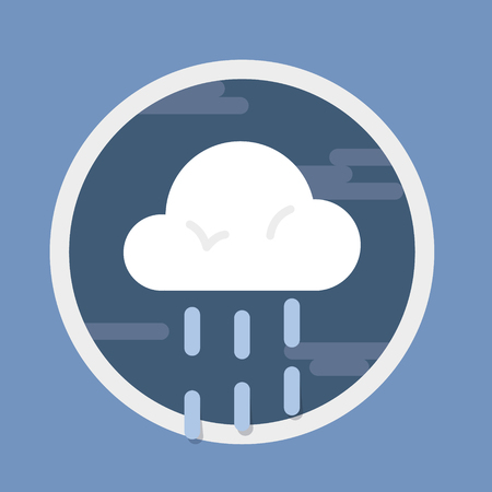 Rainy or drizzely day, circular weather forecast icon in flat design style. Vector graphic element.