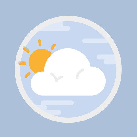 Overcast, circular weather forecast icon in flat design style. Vector graphic element. Çizim