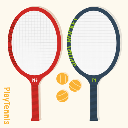 Isolated vector tennis rackets and balls. Simplyfied sport themed illustrations. Ilustração