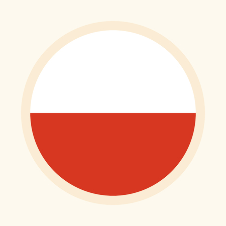 Vector illustrated flag of Poland. Rounded flat design graphic element. Great for national themed occasions like languages, sport events, travelling and more. Çizim